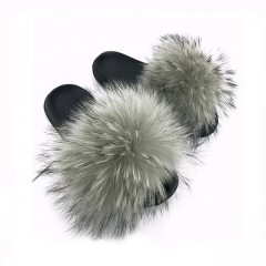 Flash Sale Summer outdoor solid color raccoon fur slipper muti color for girls