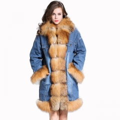 2019 High Quality Women Warm Winter Solid color Long Thick Real Natural Fox Fur Lined Parka