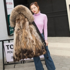 Fashion Fur Womens Parka Jacket Real Rox Fur Lined Parka / Womens Winter Coats with raccoon Fur Hood