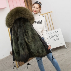 New design fox fur parka for women parka coat fur hood long style fur coat