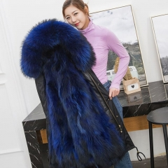 Women Winter Fur Parka/real raccoon Fur Collar Coat/ Multi Color Real mink Fur Lined Parka