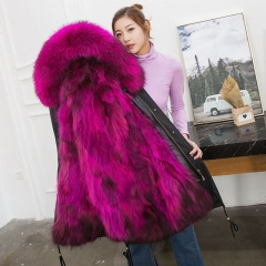 Wholesale Custom Real Raccoon Fur Lined Parka / Women Autumn Winter Coat Luxurious Fox fur parka