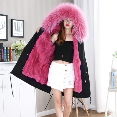 Wholesale Custom Real Raccoon Fur Lined Parka / Women Autumn Winter Coat Luxurious Raccoon fur parka