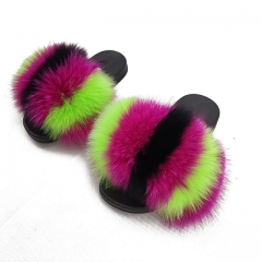 Brand new slides raccoon slide kids fur slippers with low price