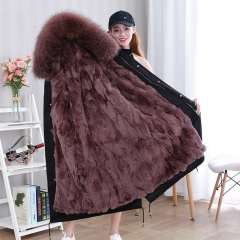 High Quality Real Fox Fur Parka Women/ Ladies Parka Female Raccoon Fur Coat