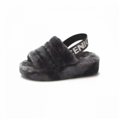 Women Fashion Wool Soft Sandals Wholesale Women Slippers Natural Color Fur Slides