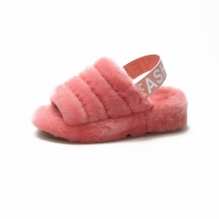 Fashion furry Slide Multi Color Fox Fur Slides For Woman