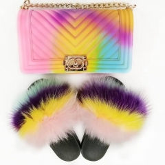 Fluffy fur slides with purse matched