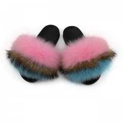 fuzzy fox fur slides- pink and blue