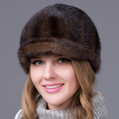 Fashion Mink Hat Real Fur Baseball Peaked Cap for Women