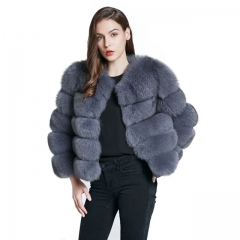 2019 Winter Women Grey Fox Fur Jacket