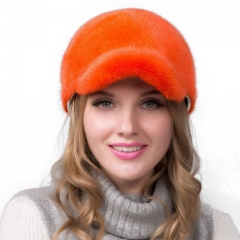 Women Winter Handmade Orange Mink Fur Baseball Cap