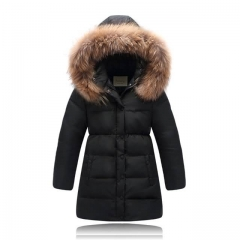 Kids Real Fur Collar Coat Children Winter Outwear children's snow wear kids outerwear & down coats