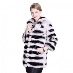Long Style winter Rex Rabbit fur Jacket Chinchilla color real fur coats