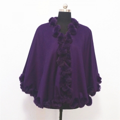 Wholesale Violet Women Fox Fur Trim Shawl