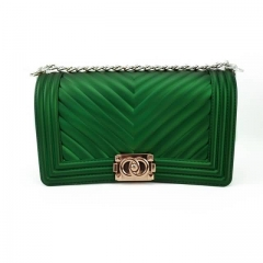 Strip style Jelly Purse With Green Color