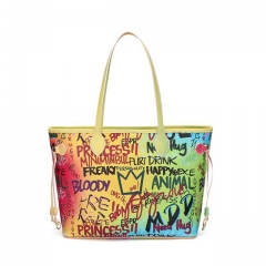 New Color Women Brand Luxury Graffiti Printed Shoulder Big Bags Fashion Large Travel Purse