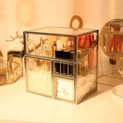 Golden Brass Glass Cosmetic Organizer Box