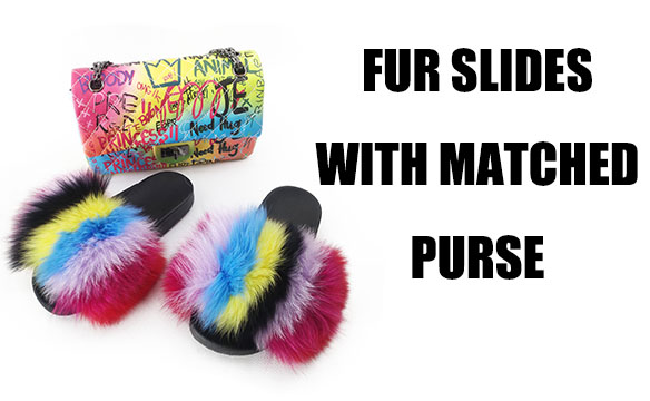FUR SLIPPERS WITH MATCHED PURSE