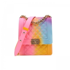 Original Source New Style Neon Pvc Jelly Purse Lady Chain Shoulder Handbags