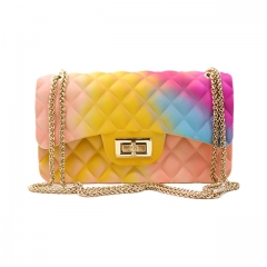 CC New Style Neon Pvc Jelly Purse Lady Chain Shoulder Handbags