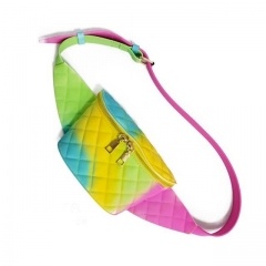 Colorful Neon Jelly Purse Diamond Style PVC Fanny Pack