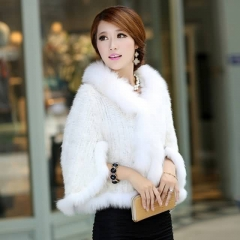 Wholesale Vendor Knitted Mink Fur Cape With Fox Fur Trim