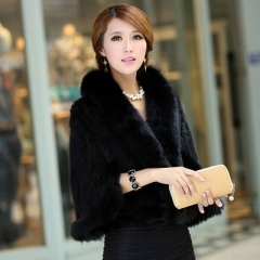 Luxury  Knitted Mink Fur Shawl With Fox Fur Collar Triming For Women