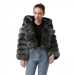 Real Fox Fur Cropped Hoodie Coat Women's Winter Fur Jacket