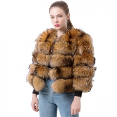 Factory Supply Customize Short Style Real Women's Raccoon Fur Jacket Natural Fur Coats