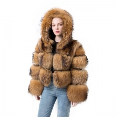 Hooded Natural Raccoon Fur Jacket Ladies Fashion Short Style Fur Coat With Hood