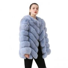 Classic Vintage V Cut Fox Fur Jacket Women Fuzzy Coat