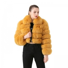 Laides Real Fox Fur Cropped Coat Street Style Fur Jacket