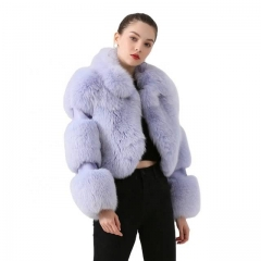 Street Style Stand Collar Fox Fur Cropped Fox Fur Jacket