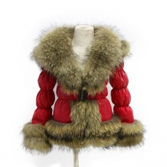 Winter Puffer Jacket Red Down Coat With Raccoon Fur Trim 2x2