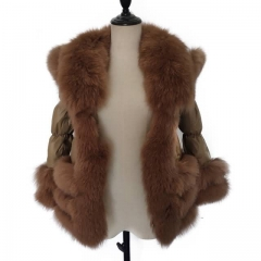 Winter Hooded Puffer Jacket Brown Down Coat With Raccoon Fur Trim 3x2