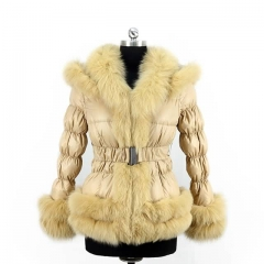 Winter Puffer Jacket Down Coat With Fox Fur Trim 2x2