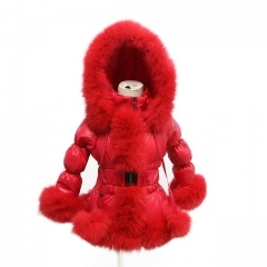 Winter  Kids Puffer Jacket Red Down Coat With Raccoon Fur Trim 1x1