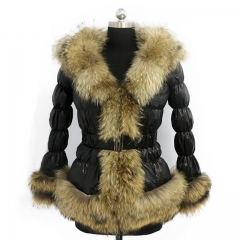 Winter Puffer Jacket Down Coat With Raccoon Fur Trim 2x2