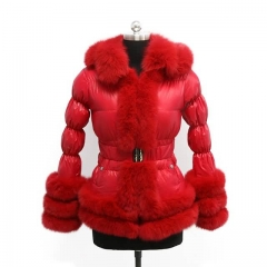 Winter Puffer Jacket Red Down Coat With Fox Fur Trim 2x3