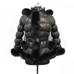 Fuzzy Puffer Jacket Down Coat With Raccoon Fur Trim 1x1